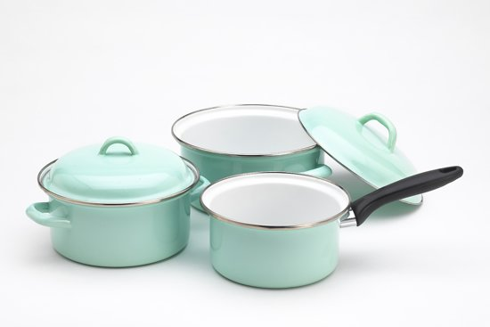 Lite Body Pannenset - 3-delig - 2 kookpannen & 1 steelpan - Emaille - Mintgroen