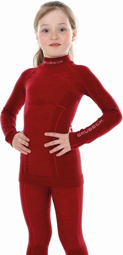 Brubeck - Meisjes Merino Wol Shirt - Thermo Ondergoed - Thermoshirt - Bordeaux - 140-146