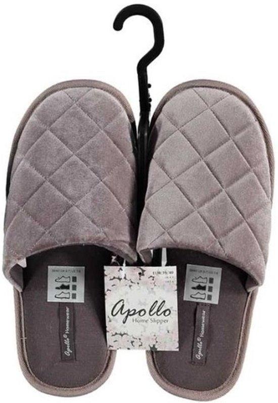 Grijze instap sloffen/pantoffels diamant patroon voor dames - Grijze slippers voor dames 37-38