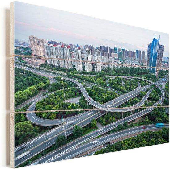 Stedelijke architectuur in de Chinese miljoenenstad Wuxi Vurenhout met planken 30x20 cm - klein - Foto print op Hout (Wanddecoratie)