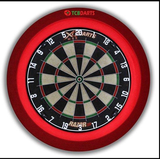 TCB Best geteste dartbord verlichting INCLUSIEF beschermring - Rood