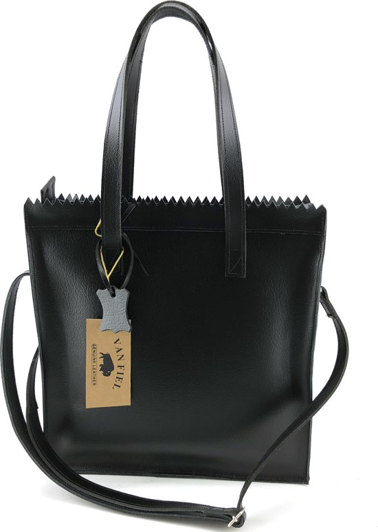Lederen Zwart Leather Van Shopper FielLina Met Lange Hengsel 4LAR5j