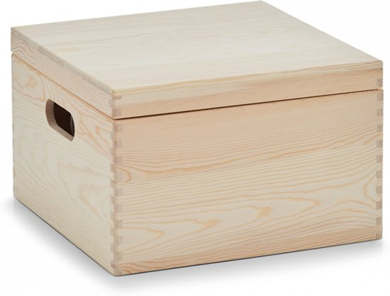 "Zeller - Storage Box ""Cube"" with lid, pinewood"