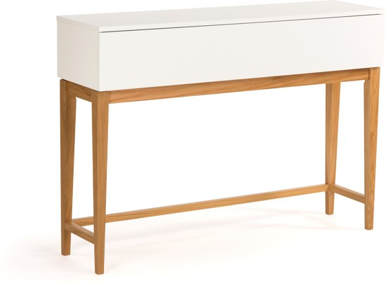 Eiken Sidetable Woood.Blance Side Table Met 1 Lade In Wit Met Massief Eiken Poten