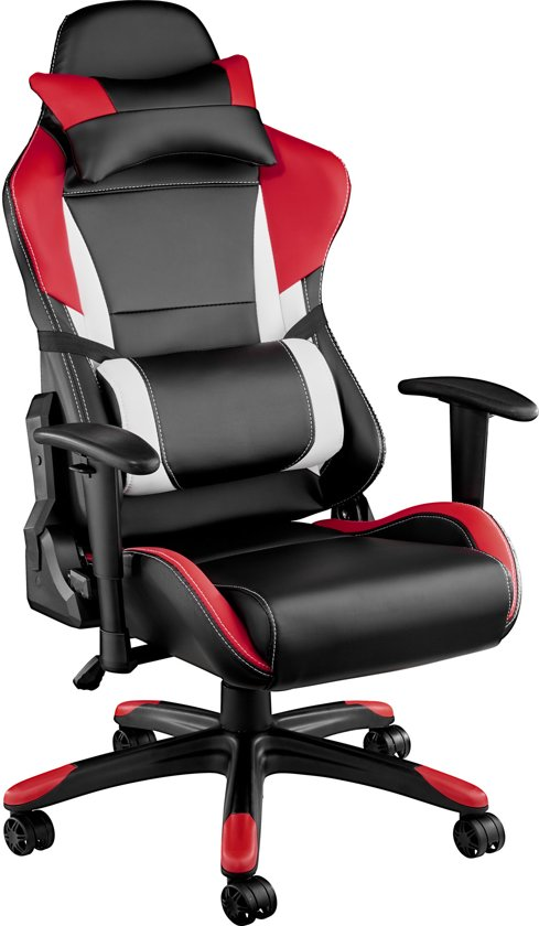 TecTake - bureaustoel Trinity premium racing style zwart rood - 402289