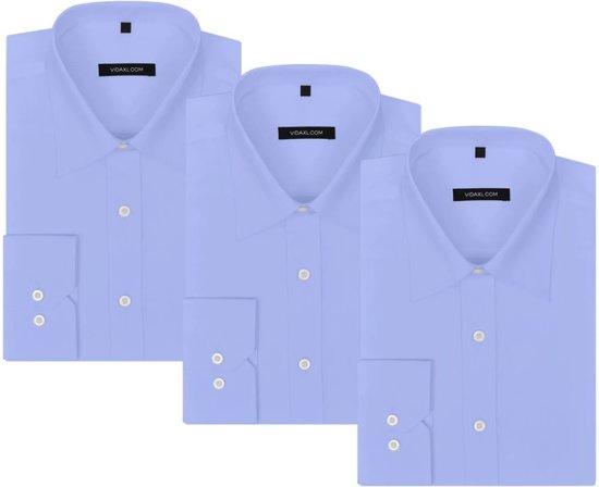 Maat Overhemd Heren.Bol Com Vidaxl Zakelijk Overhemd Heren 3 St Maat Xl Lichtblauw