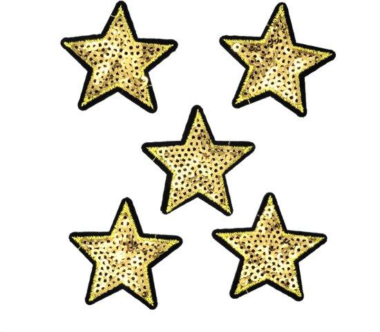 8580fc4b62cf30 Strijk embleem  Glitter sterren goud paillet patch set (5)  – stof