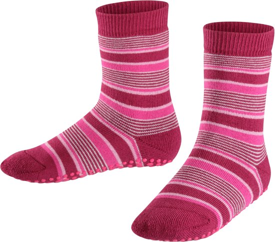 FALKE Cats Pads Mixed Stripe Kids Huissokken - Red Plum - Maat 27-30