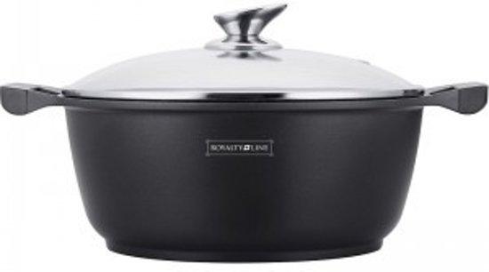 Royalty Line - Marble soep/braadpan - Met glazen afdekplaat zwart - 34 CM. Valentinaa