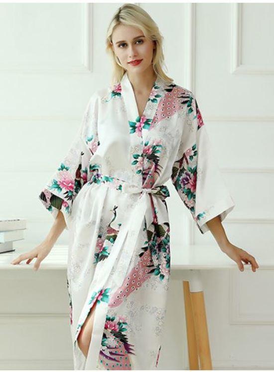 c5605e449b5 bol.com | Chinese Kimono badjas ochtendjas wit satijn dames maat XXL