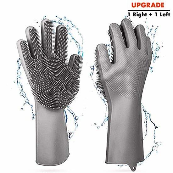 2 in 1 Magic Siliconen Rubberen Duurzame Schoonmaak Handschoenen - Afwas handschoenen Met Spons- Afstoffen Afwas Keuken Handschoenen met Ingebouwde Borstels -  Grijs