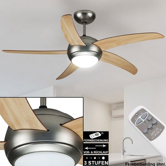 Plafondventilator - LED Verlichting - Bruin/ Grenen - Afstandbediening