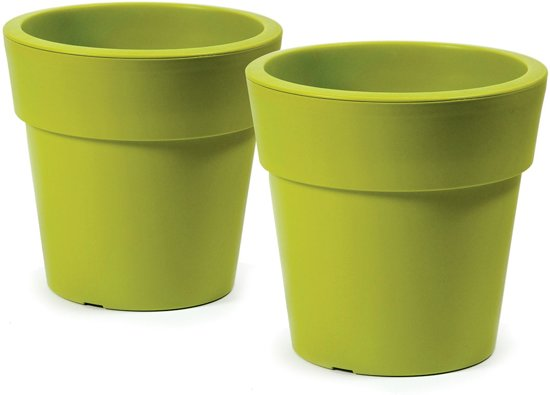 Linea bloempot – rond D35 cm–H33 cm – Limoen groen – 2 stuks