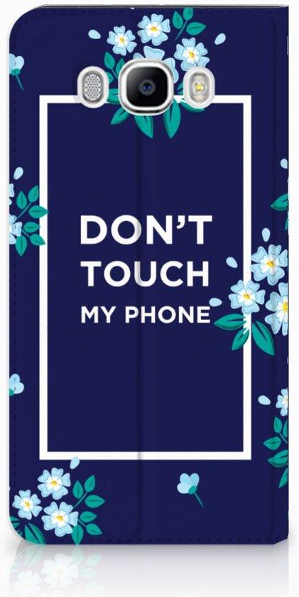 Samsung Galaxy J7 2016 Standcase Hoesje Flowers Blue DTMP