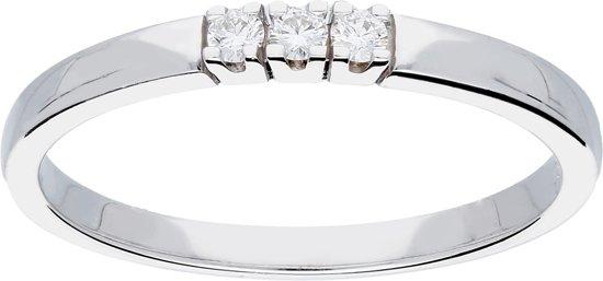Glow ring met diamant rijring - 3 steens 0.06 ct G/SI - witgoud 14kt - mt 50