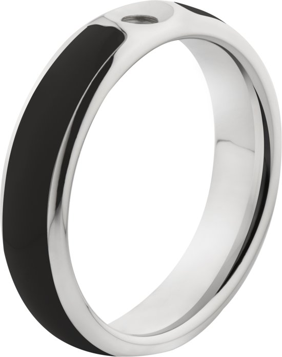 Melano Twisted Tracy resin ring - dames - stainless steel+ black resin - 5mm - maat 60