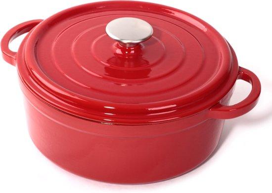 Cuisinova Braadpan Gietijzer 28 cm 4,6 liter Rood