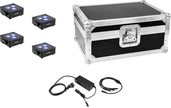 EUROLITE Set 4x AKKU Flat Light 3 bk + Charger + Case