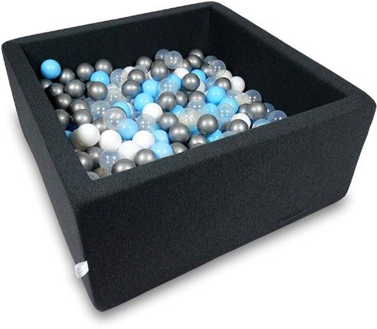Ballenbak - 400 ballen - 90 x 90 x 40 cm - ballenbad - vierkant zwart