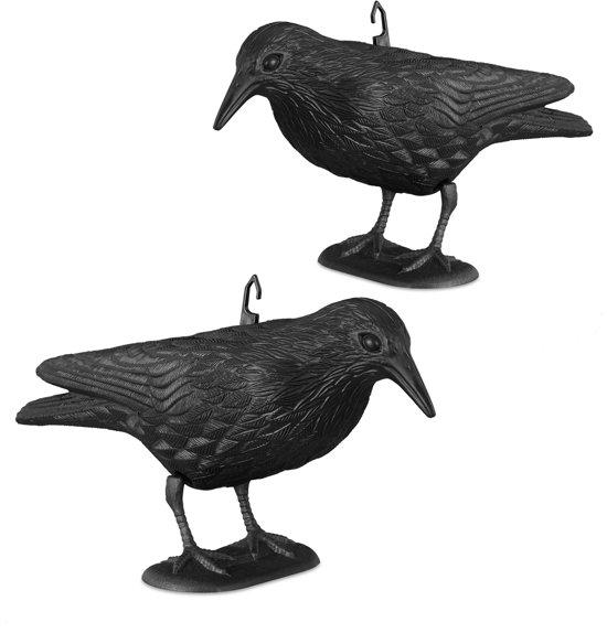 relaxdays 2 x duivenverschrikker kraai staand - 38 cm vogelverschrikker zwart - tuinfiguur