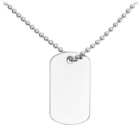 The Jewelry Collection For Men Ketting Dogtag Gediamanteerd 2,0 mm 50 cm - Zilver Gerhodineerd