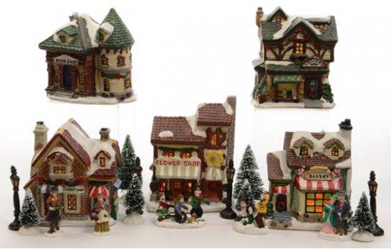 kerstdorp serie van winkels met verlichting 5 stuks