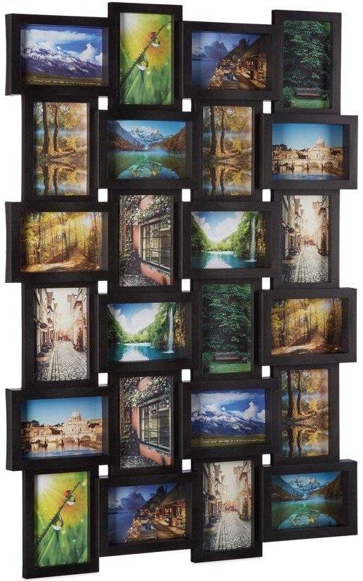 relaxdays fotolijst voor 24 foto's - fotocollage - fotogalerie - collage - 59 x 86 cm - Zwart