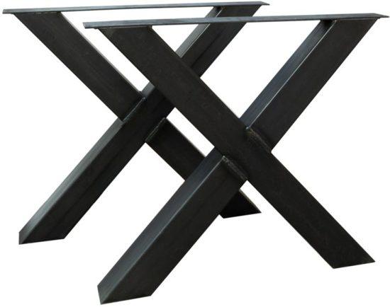 Tafelpoten Metaal Zwart.Stalen Zwarte X Metalen Kruis Tafelpoten 10 X 10 Cm Per Set
