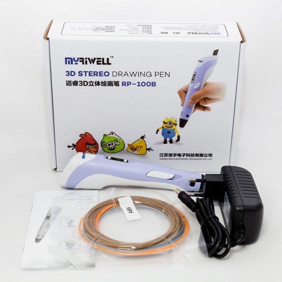 STARTERPACK - MyRiwell Advanced met LCD voor ABS/PLA - PAARS - Incl startpakket HQ 120m PLA filament en gratis 3D drawing pad (hittebestendig en transparant)