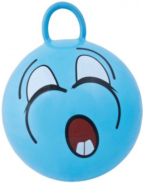 Blauwe skippybal met gezicht 45cm