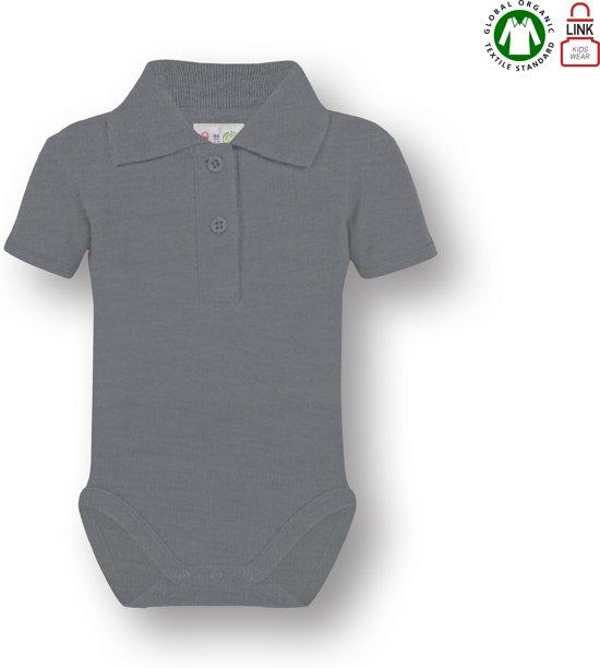 Link Kidswear baby rompertje met korte mouw en polokraag - Heather Grey - Maat 86/92