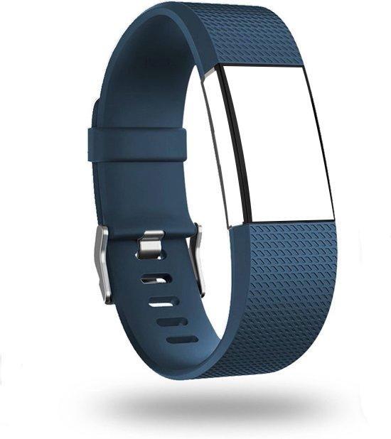 Siliconen Bandje Small Geschikt voor Fitbit Charge 2 Donker Blauw