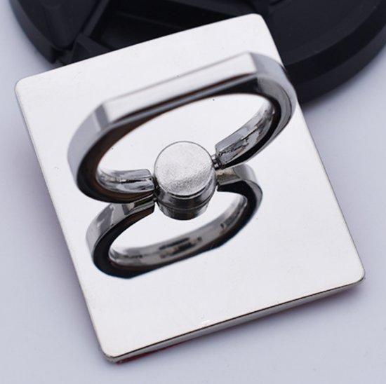 Ring vinger houder Zilver- wit vierkant / standaard voor telefoon of tablet