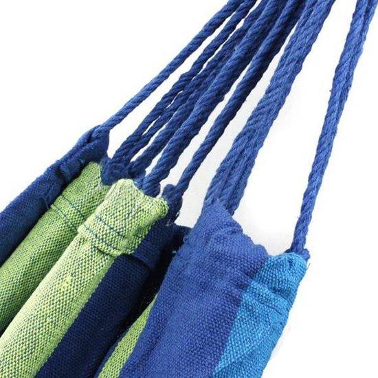 Hangmat - Blauw - streep - 1 persoons - incl opberzak