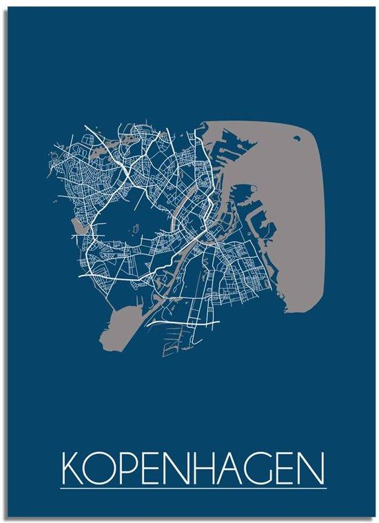 DesignClaud Kopenhagen Plattegrond poster Blauw A4 + Fotolijst wit