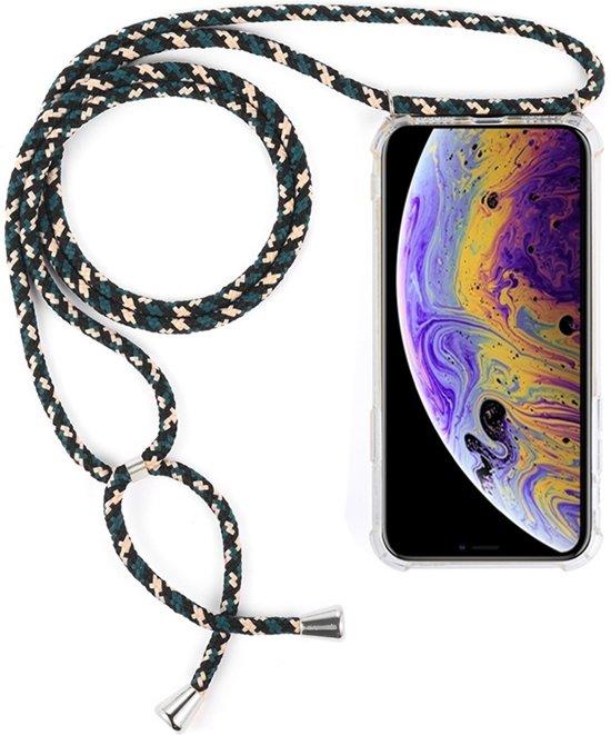 Mobigear Nekkoord Transparant TPU Groen / Beige / Zwart Hoesje Apple iPhone X / Xs