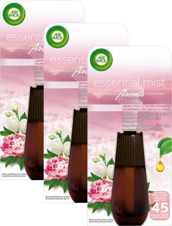 Air Wick Essential Mist Aroma Jasmijn & Pioenroos - Navulling - 3 x 20 ml - Grootverpakking