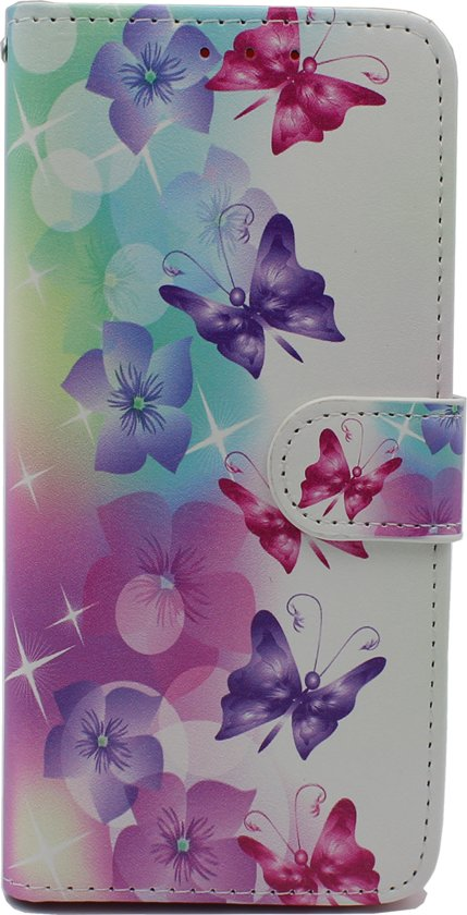 Samsung Galaxy A40 Hoesje - Portemonnee Hoesje met Kaarthouder & Magneetsluiting - Wallet Case - Bloemen en Vlinders Print