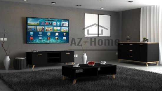Tv Kast Salon Tafel.Bol Com Az Home Woonkamer Set Malcolm Zwart Dressoir