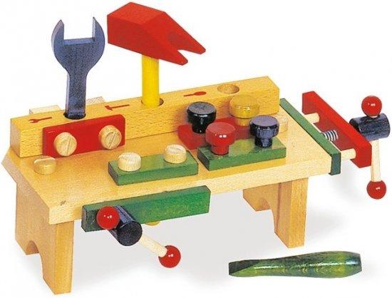 houten speelgoed werkbank met bankschroef. Black Bedroom Furniture Sets. Home Design Ideas