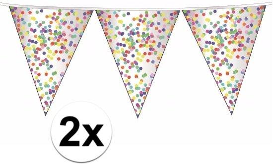 2x confetti party thema vlaggenlijn / slingers 10 meter