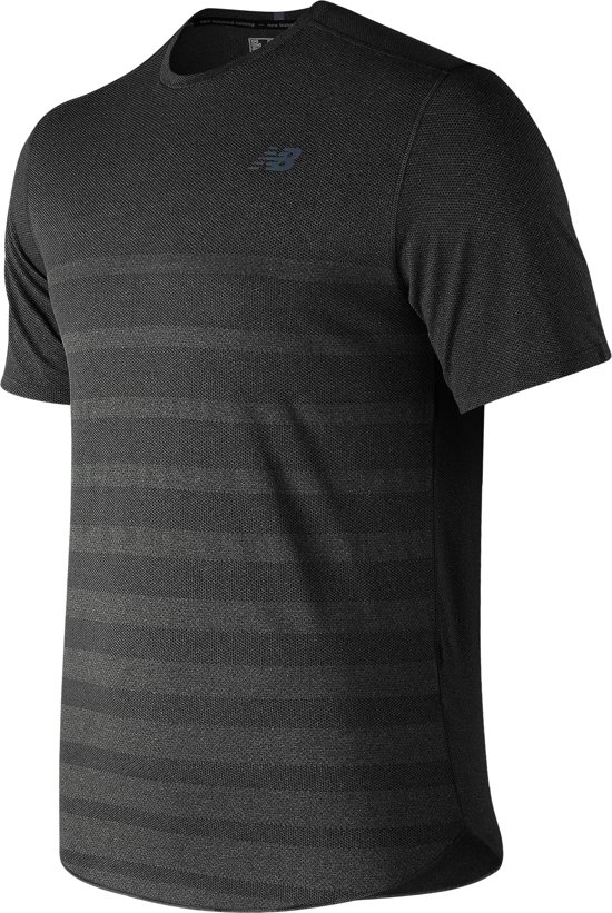 New Balance Q Speed Jacq Ss Sportshirt Heren - Black - Maat XL