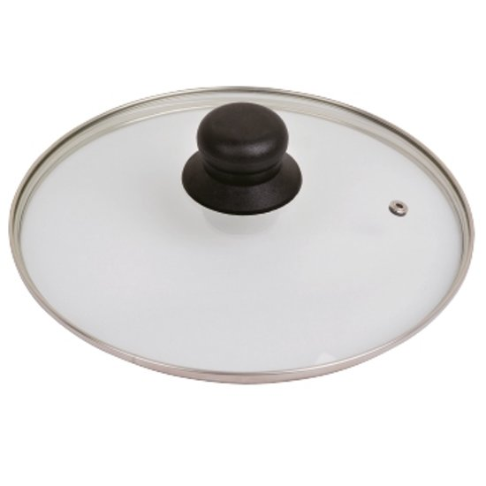 Glasdeksel antispatdeksel HHCP met RVS ring 28cm