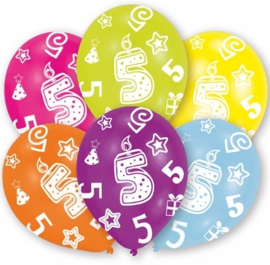 verjaardag 5 jaar bol.| 5 jaar leeftijd ballonnen 6 stuks   verjaardag  verjaardag 5 jaar