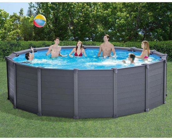 Intex Paneelzwembad 478 cm grafiet PVC 16805 L 28382GN