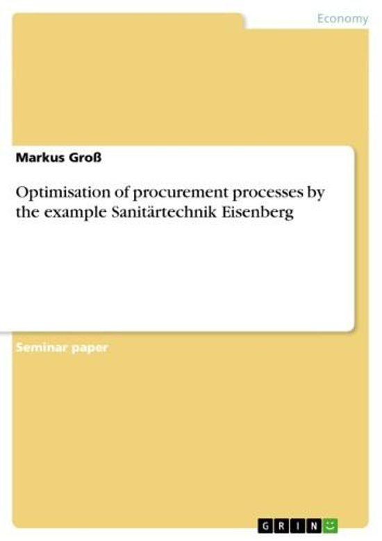 Optimisation of procurement processes by the example Sanitärtechnik Eisenberg