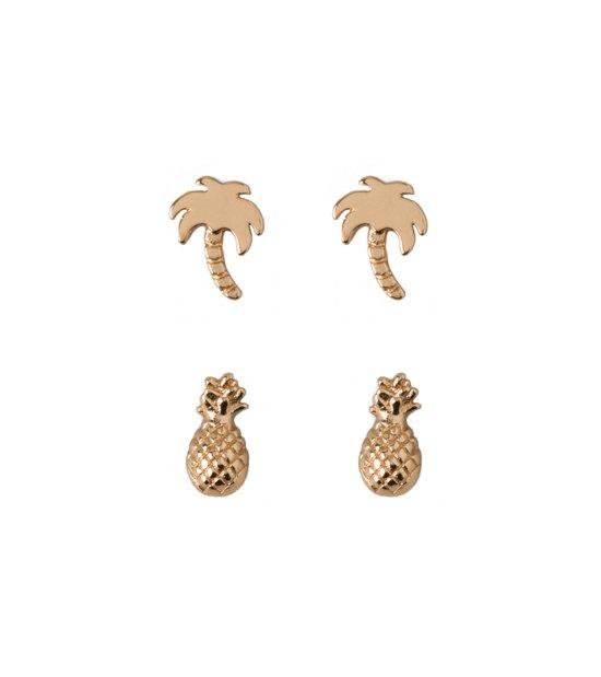Orelia oorbellen met palmbomen en ananassen - 2pck - Gold Plated - Nickle Free