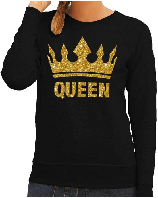 Dames Kleding Xs.Bol Com Zwarte Queen Gouden Glitter Kroon Sweater Trui Dames
