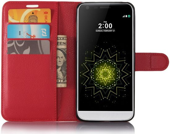 LG G6 Lederen Portemonnee Hoesje Lychee Rood in Mont-Gauthier
