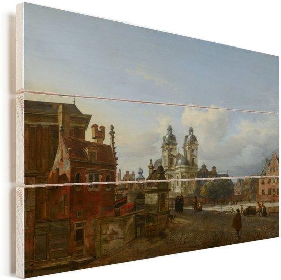 De St Andreaskerk te Dusseldorf Vurenhout met planken 80x60 cm - Foto print op Hout (Wanddecoratie)